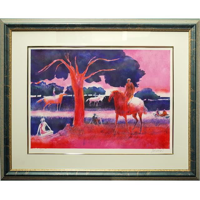 ポール・ギャマン 赤い馬 リトグラフ