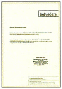クリムト「ヒマワリの咲く農家の庭」(彩美版)に付属するベルヴェデーレ宮殿公式認定証