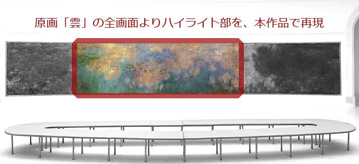 モネ 「睡蓮、水のエチュード 雲」  オランジュリー美術館展示室