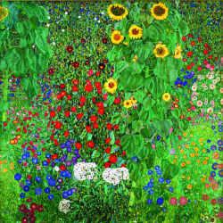 クリムト「ヒマワリの咲く農家の庭」 原画所蔵・ベルヴェデーレ宮殿(オーストリア・ウイーン)公式認定を受けて制作された複製画