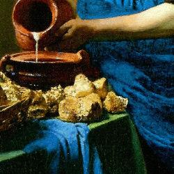 フェルメール 「牛乳を注ぐ女」 天然ラピスラズリを使用した青