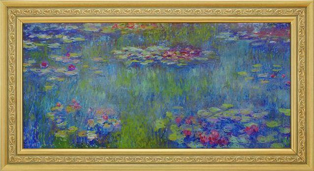 モネ 睡蓮の池、緑の反映 複製画 共同印刷 彩美版(R) ハンドメイド金箔額仕上げ高級額付き