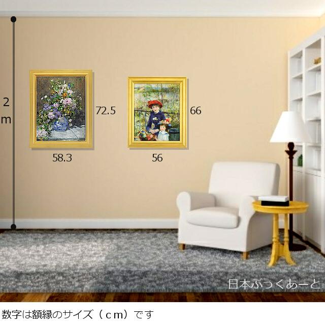 ルノワール 「春の花束」と「二人の姉妹」 複製画 サイズ比較