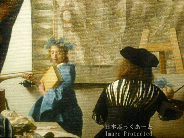 フェルメール 「絵画芸術」 複製画 部分拡大